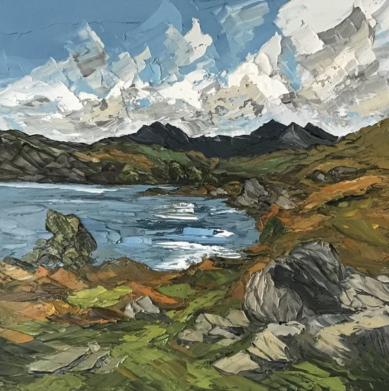 Llyn Mymbyr Welsh Artist Martin Llewellyn Painting Snowdonia in the style of Kyffin Williams, contemporary Welsh Art