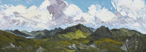 Martin Llewellyn Snowdon Mountain Range Welsh Artist Martin Llewellyn Painting Snowdonia in the style of Kyffin Williams, contemporary Welsh Art