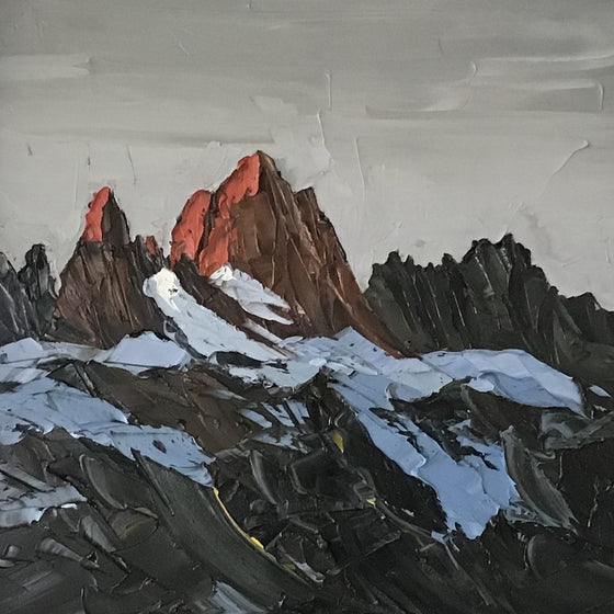 Patagonia Welsh Artist Martin Llewellyn Painting Snowdonia in the style of Kyffin Williams, contemporary Welsh Art
