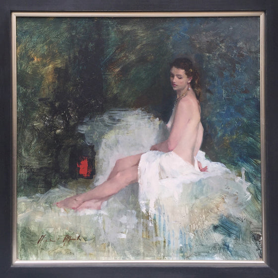 Michael Alford Seated Nude on the Diagonal framed