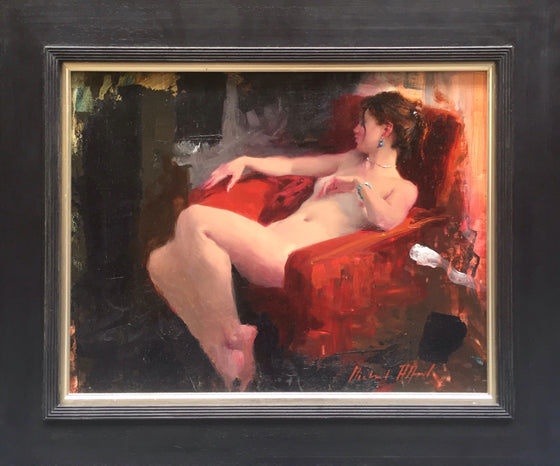 Michael Alford_Seated Nude, Red Chair II framed