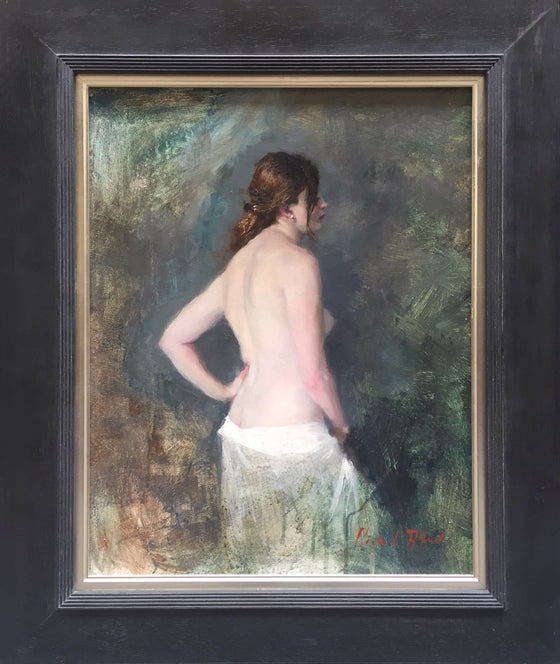 Michael Alford Standing Nude, White Cotton Drape framed