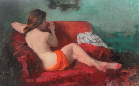 Seated Nude, on Red and Green