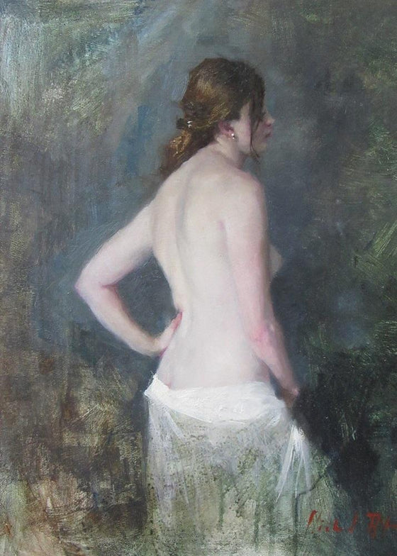Michael Alford Standing Nude, White Cotton Drape