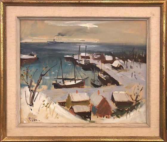 Snowy Harbour (Framed)