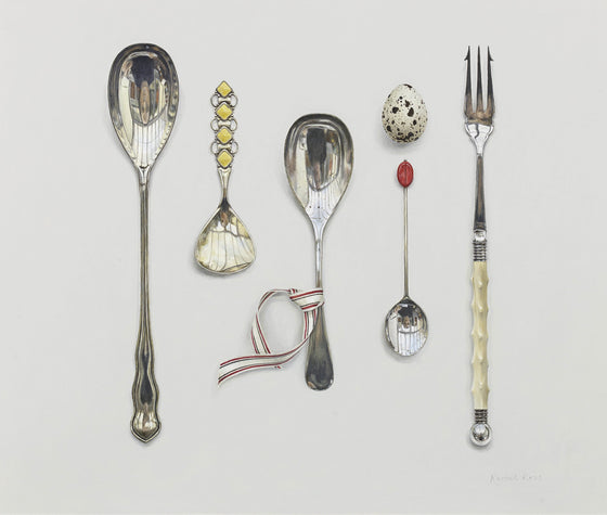 Arranged Silverware with Enamelled Spoon and Quail's Egg