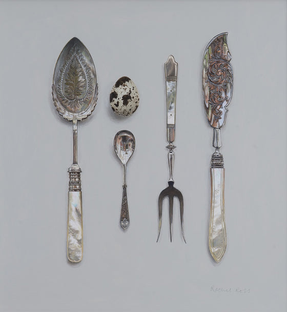 Mother of Pearl Silverware with Quail's Egg