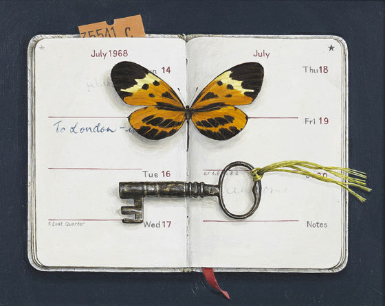 Open Diary with Butterfly and Key