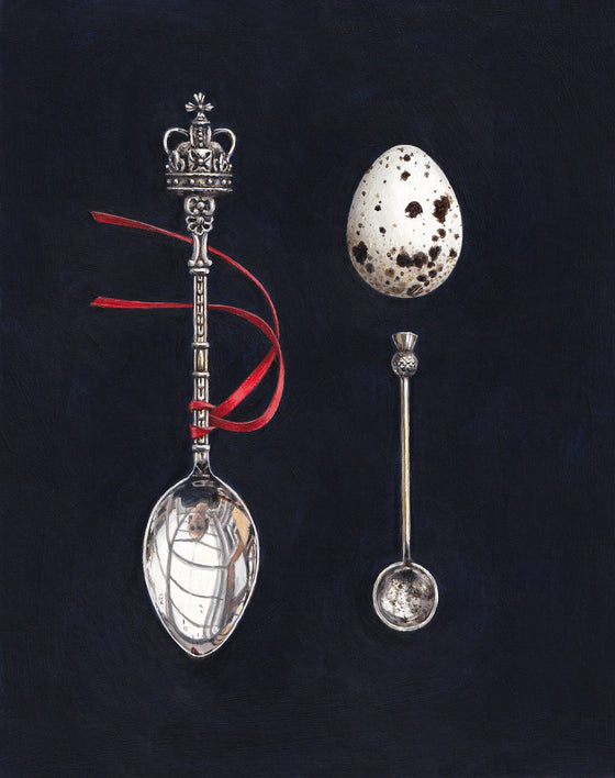 Rachel Ross Scottish Art realist still life paintings 'Quail's Egg with Crown and Salt Spoons'