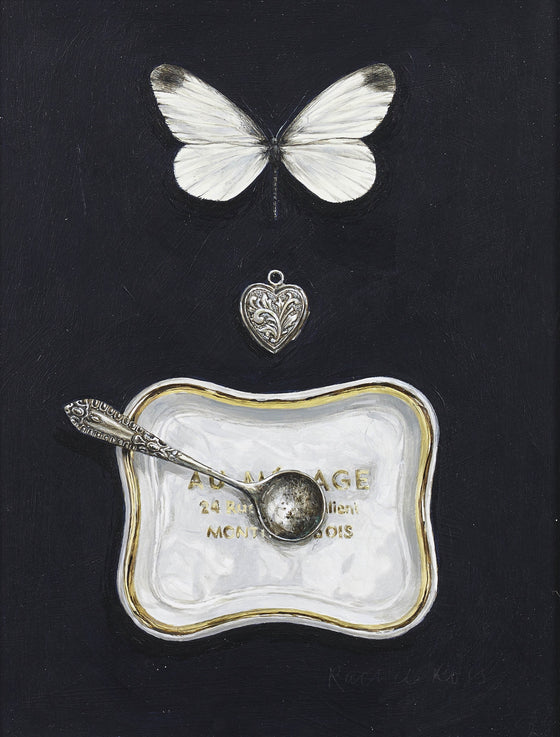 White Butterfly with Dish, Spoon and Locket