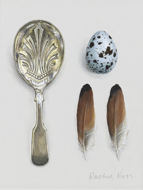 Caddy Spoon with Egg and Two Feathers