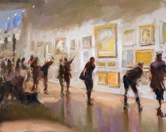 Visitors to the Royal Institute of Oil Painters Annual Exhibition