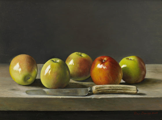 Five Apples with Knife
