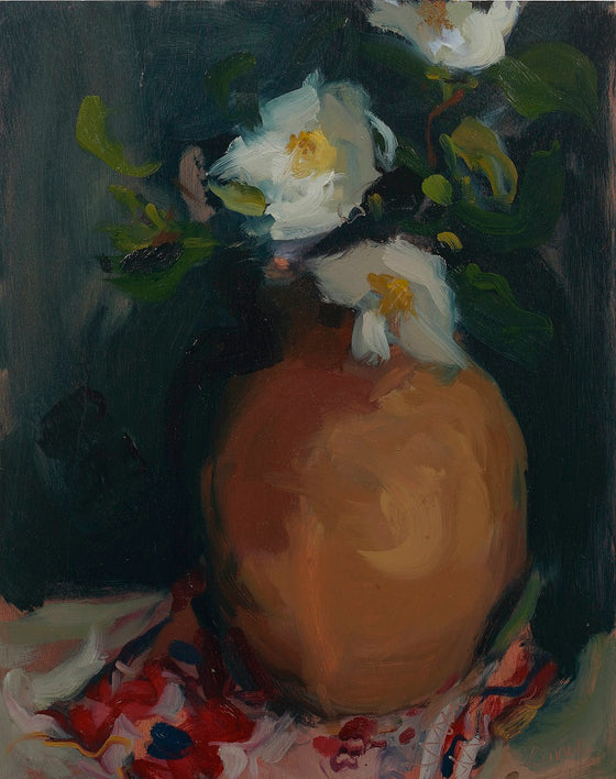 Camellias in Terracotta Jug