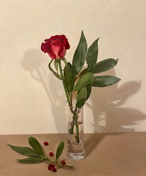 Red Rose and Laurel Leaves