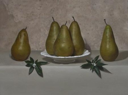 Conference Pears and Dish against Stone