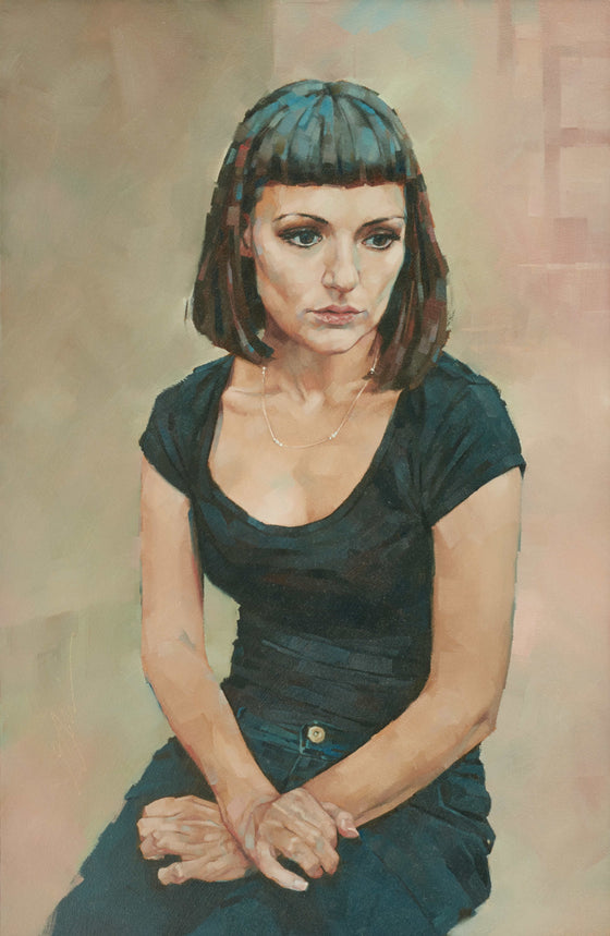 Simon Davis British Contemporary Artist Young Woman with crossed Hands