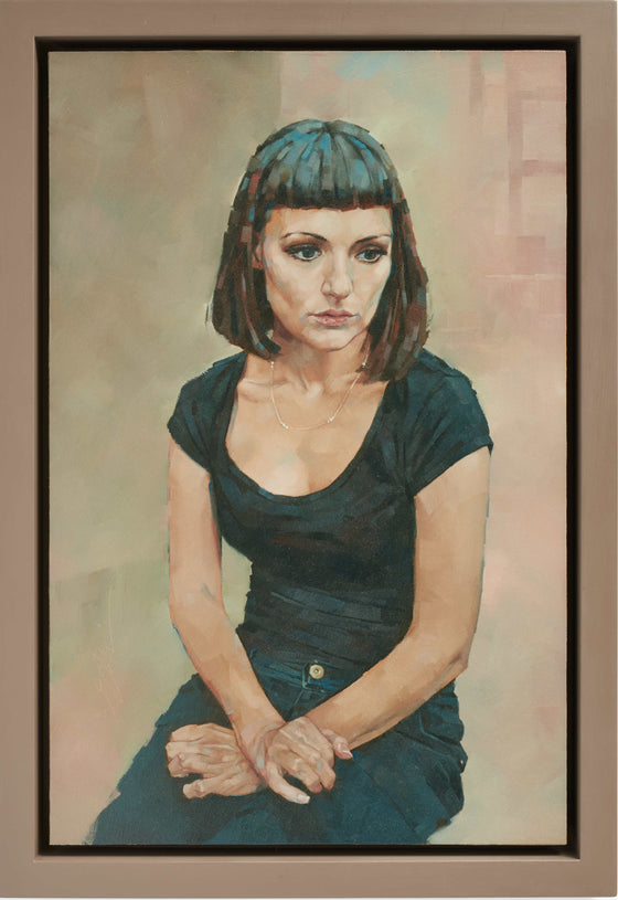 Simon Davis British Contemporary Artist Young Woman with crossed Hands framed