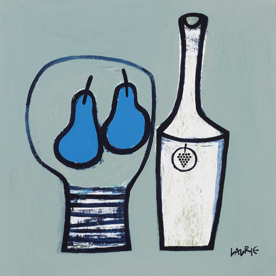 Blue Pears and Bottle