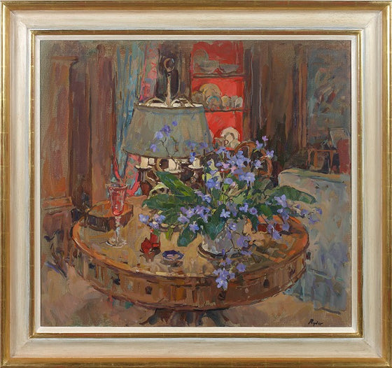 Drum Table With Flowers (Framed)
