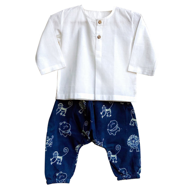 UNISEX ESSENTIAL WHITE  KURTA WITH ZOO PRINTED INDIGO PYJAMA PANTS