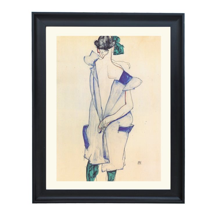 Back view of a girl in a blue skirt Egon Schiele art print