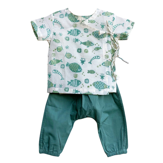 UNISEX FISH PRINT ANGARAKHA TOP WITH MINT GREEN PYJAMA PANTS