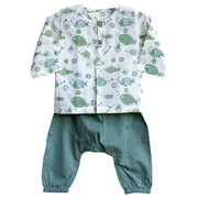 UNISEX FISH PRINT KURTA WITH MINT GREEN PYJAMA PANTS