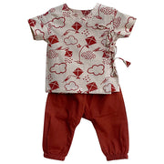 UNISEX PATANG PRINT ANGARAKHA TOP WITH RED PYJAMA PANTS
