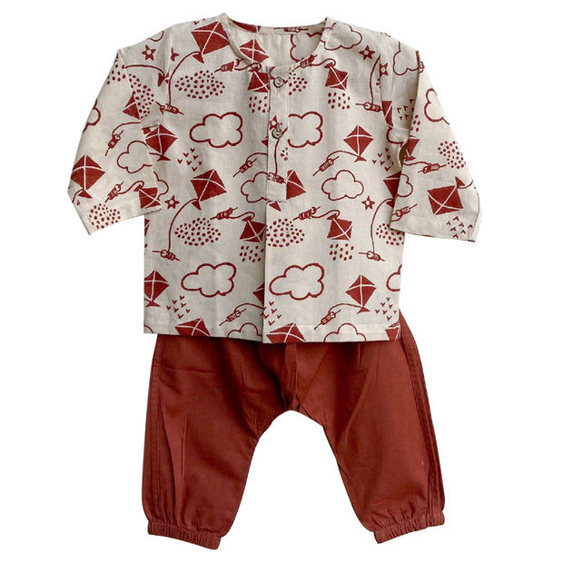 UNISEX PATANG PRINT KURTA WITH RED PYJAMA PANTS