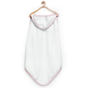 White and Hot Pink Organic Hooded Towel