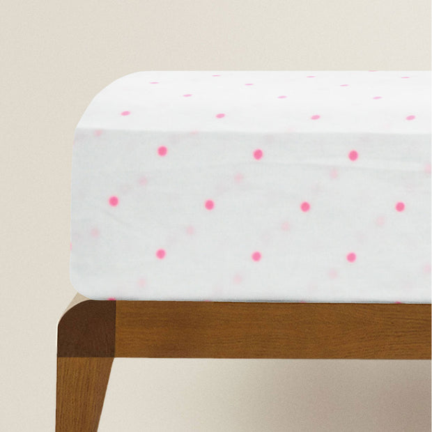 Fitted Single Sheet Set White and Hot Pink
