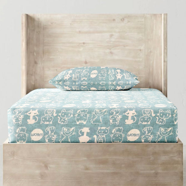 Fitted Single Sheet Set Blue Cats