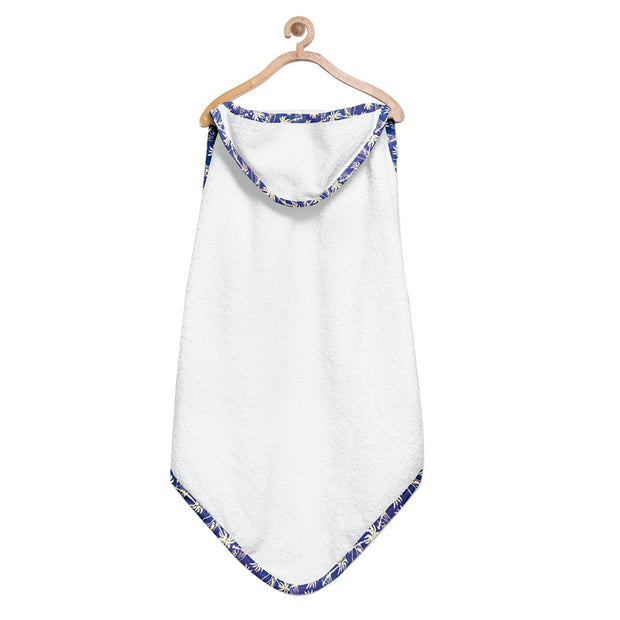 Organic Floral Blue Hooded Towel