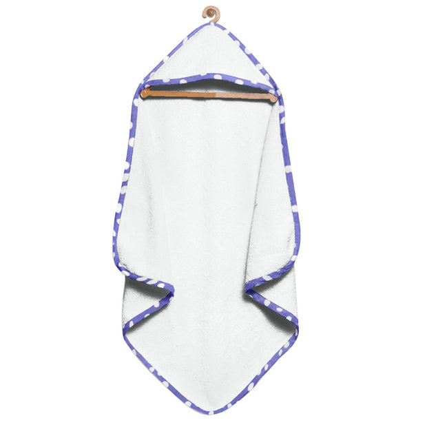 Organic Purple and White Spots Hooded Towel Set