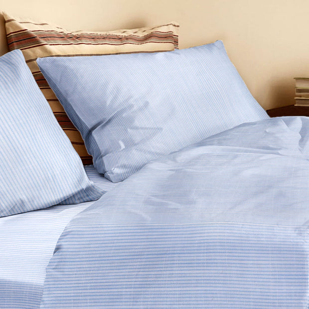 Organic Queen Duvet Cover Blue and White Stripe