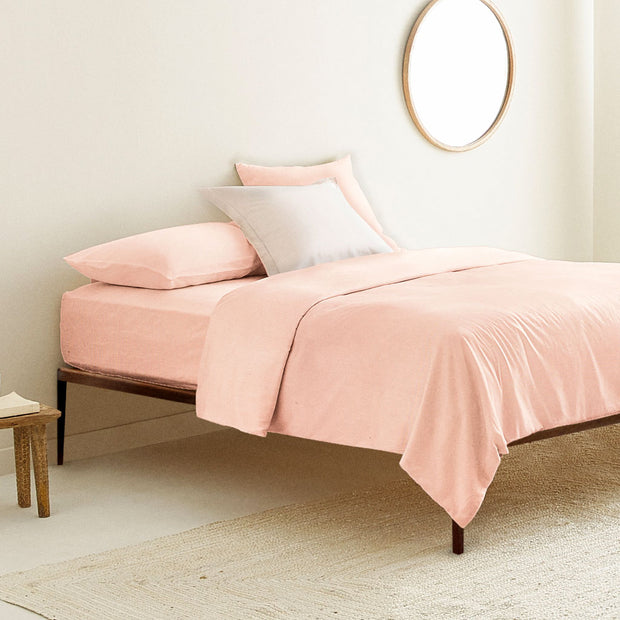Organic Single Duvet Cover Neutral Pink