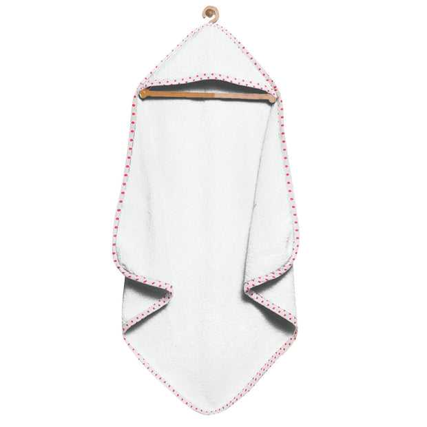 Organic White and Hot Pink Hooded Towel Set