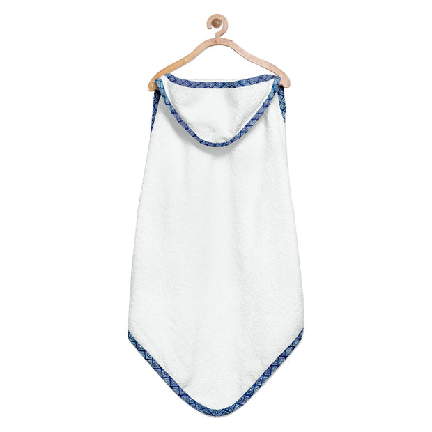 Organic Blue and White Dot Hooded Towel Set