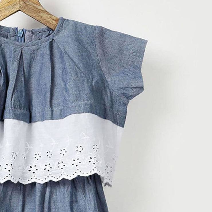 Chambray Dress with Lace Hem Pleated Crop Top in Cotton
