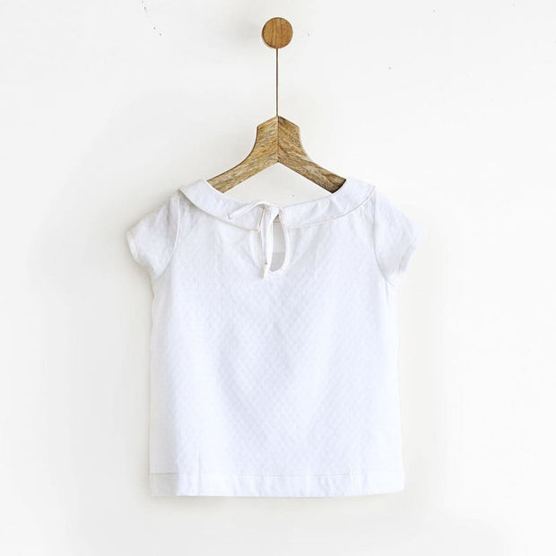 Cotton Peter Pan White Top with Back Tie