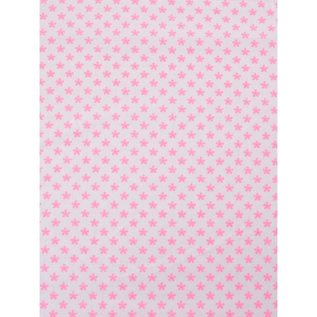 Fitted Crib Sheet White and Hot Pink Flowers