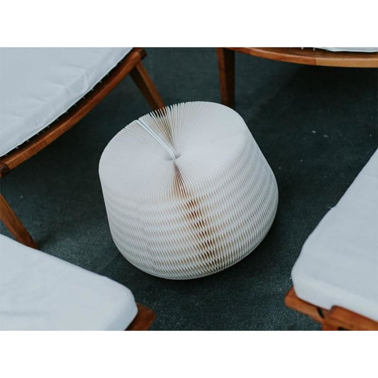 Foldable White Pouffe