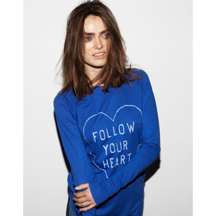 FOLLOW YOUR HEART -RAGLAN LONG SLEEVE CURVED HEM