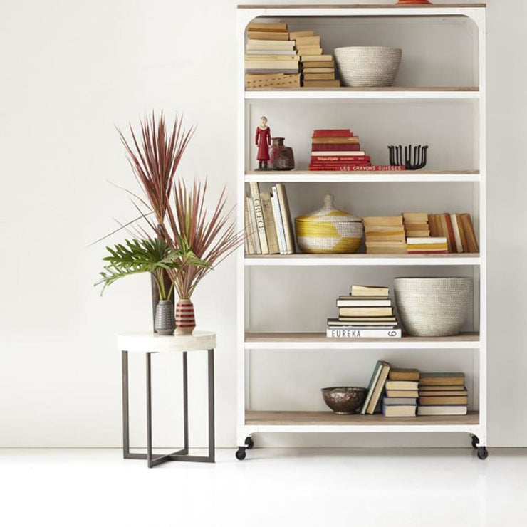 Iris Bookcase With Iron Frame Solid wood Top & Wheels