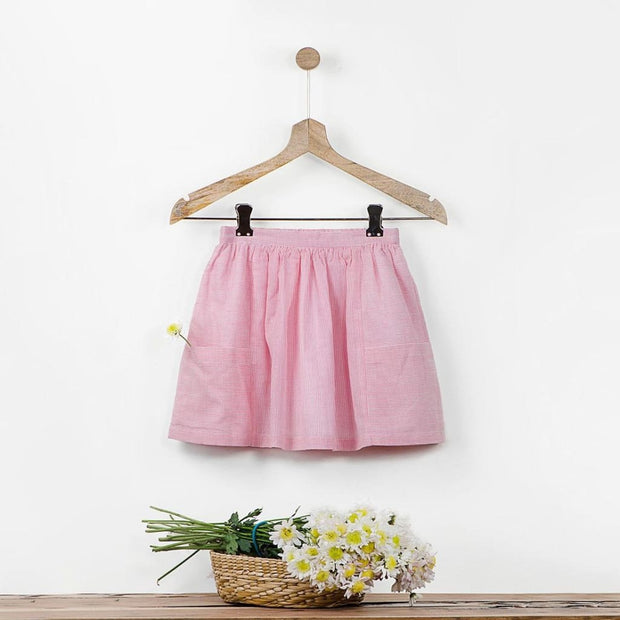 Pink and White Pinstiped Skirt with Big Pockets and Fabric Brooch