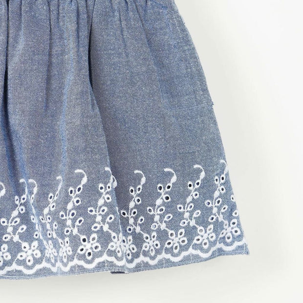 Pluie Blue Embroidered Gathered Skirt