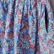 Pluie Blue Floral Print Gathered Skirt with Pockets