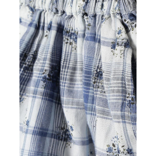 Pluie Blue & White Lace Hem Skirt with Pockets