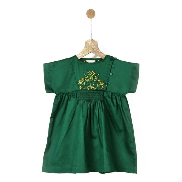 Pluie Embroidered Green Smocked Dress